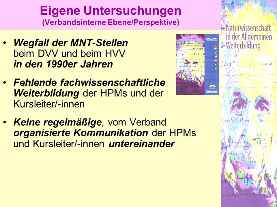 Wegfall der MNT-Stellen beim DVV und beim HVV in den 1990er Jahren Fehlende fachwissenschaftliche Weiterbildung der HPMs und der Kursleiter/-innen Kei