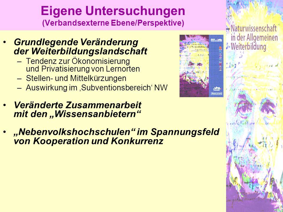 Eigene Untersuchungen (Verbandsexterne Ebene/Perspektive) Grundlegende Veränderung der Weiterbildungslandschaft –Tendenz zur Ökonomisierung und Privat