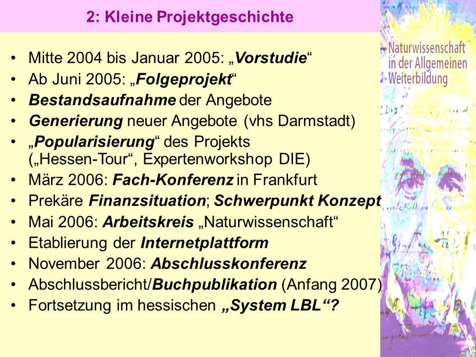 """2: Kleine Projektgeschichte Mitte 2004 bis Januar 2005: """"Vorstudie"""" Ab Juni 2005: """"Folgeprojekt"""" Bestandsaufnahme der Angebote Generierung neuer Angeb"""