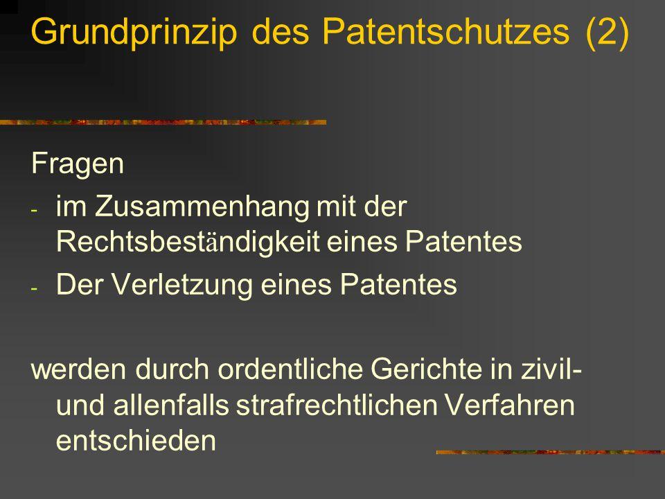 Grundprinzip des Patentschutzes (2) Fragen - im Zusammenhang mit der Rechtsbest ä ndigkeit eines Patentes - Der Verletzung eines Patentes werden durch