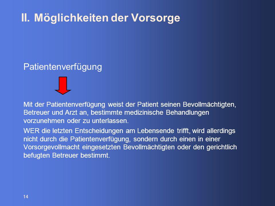 14 II. Möglichkeiten der Vorsorge Patientenverfügung Mit der Patientenverfügung weist der Patient seinen Bevollmächtigten, Betreuer und Arzt an, besti