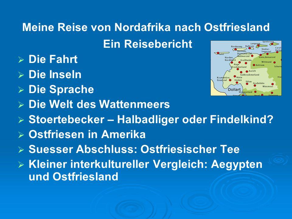 Meine Reise von Nordafrika nach Ostfriesland Ein Reisebericht   Die Fahrt   Die Inseln   Die Sprache   Die Welt des Wattenmeers   Stoertebec