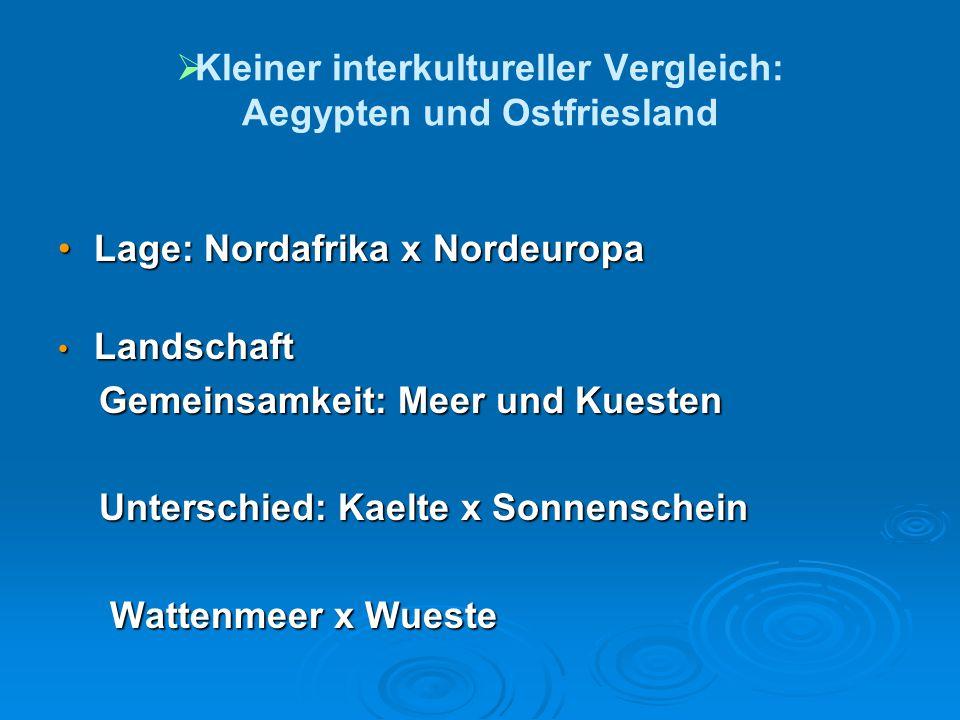  Kleiner interkultureller Vergleich: Aegypten und Ostfriesland Lage: Nordafrika x NordeuropaLage: Nordafrika x Nordeuropa Landschaft Landschaft Gem