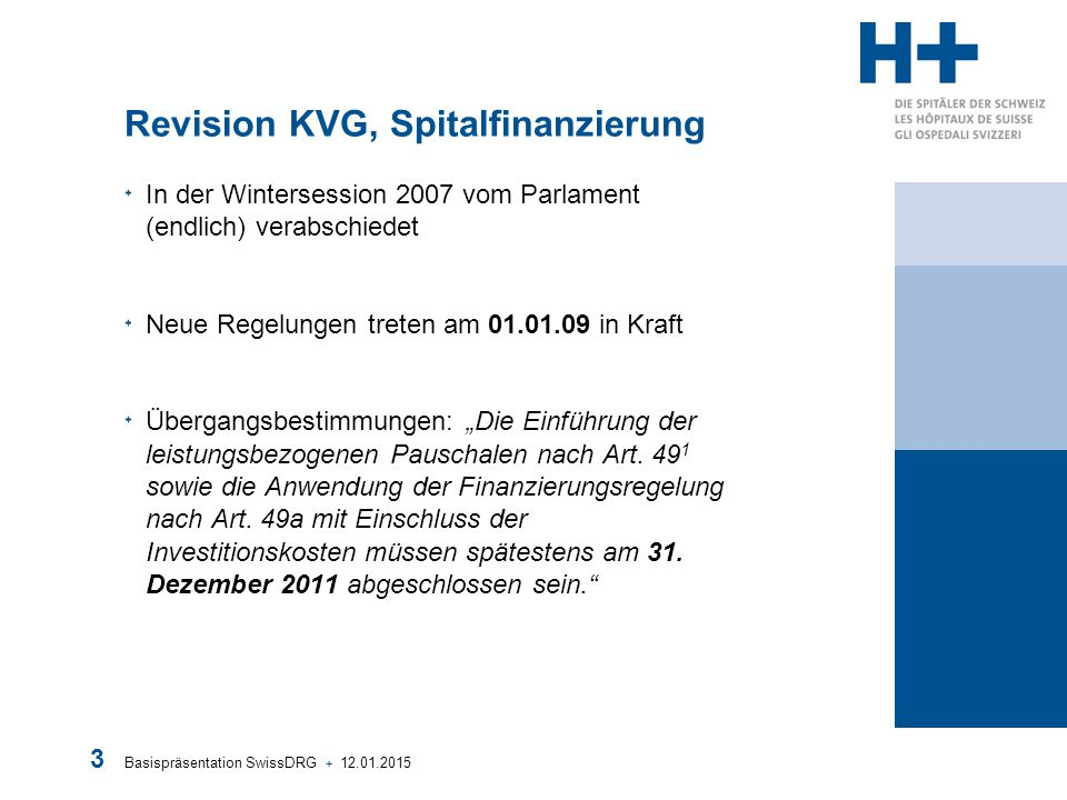 Basispräsentation SwissDRG + 12.01.2015 24 Einführungsverlauf nach H+ Versionenneutralität: +Damit möglichst wenige Verschiebungen während der Einführungsphase (hier 2011 bis und mit 2013) provoziert werden, sollte in dieser Zeit immer mit der gleichen Version gearbeitet werden.
