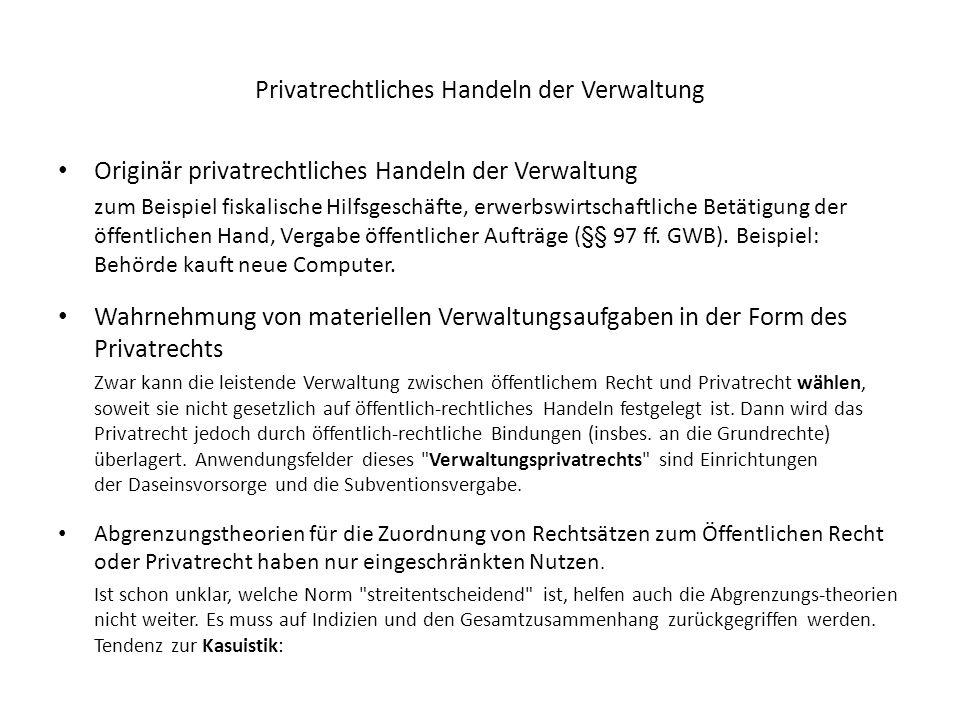 Privatrechtliches Handeln der Verwaltung Originär privatrechtliches Handeln der Verwaltung zum Beispiel fiskalische Hilfsgeschäfte, erwerbswirtschaftl
