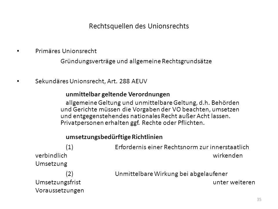 35 Rechtsquellen des Unionsrechts Primäres Unionsrecht Gründungsverträge und allgemeine Rechtsgrundsätze Sekundäres Unionsrecht, Art. 288 AEUV unmitte
