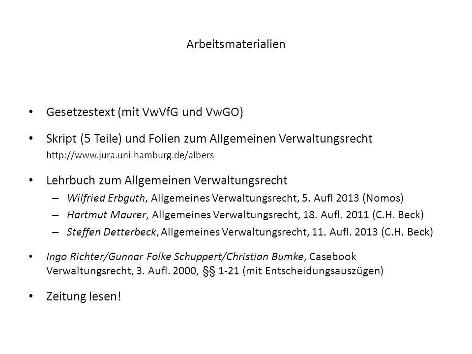 Arbeitsmaterialien Gesetzestext (mit VwVfG und VwGO) Skript (5 Teile) und Folien zum Allgemeinen Verwaltungsrecht http://www.jura.uni-hamburg.de/alber