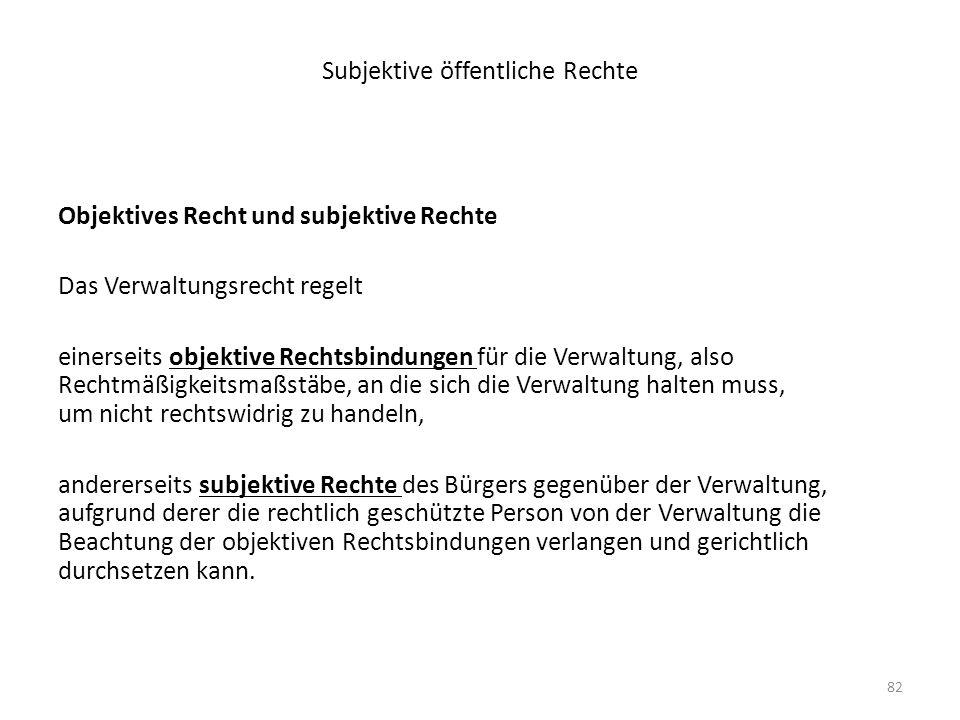 82 Subjektive öffentliche Rechte Objektives Recht und subjektive Rechte Das Verwaltungsrecht regelt einerseits objektive Rechtsbindungen für die Verwa