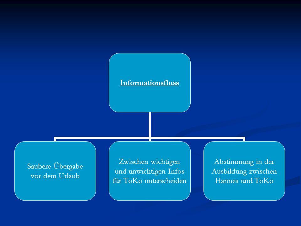 Informationsfluss Saubere Übergabe vor dem Urlaub Zwischen wichtigen und unwichtigen Infos für ToKo unterscheiden Abstimmung in der Ausbildung zwischen Hannes und ToKo