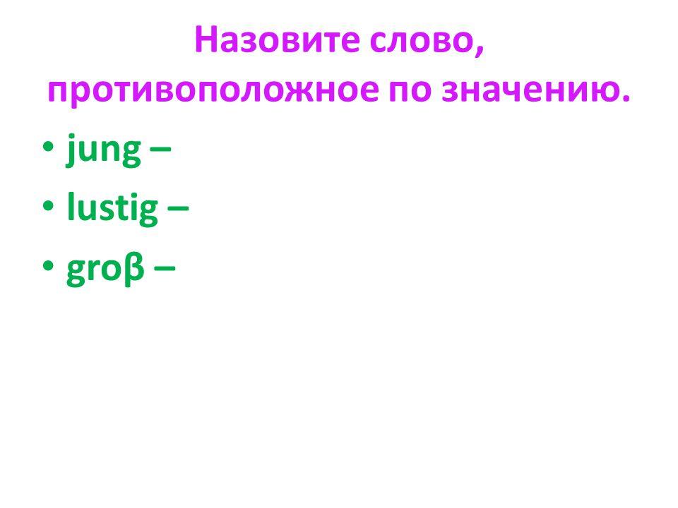 Назовите слово, противоположное по значению. jung – lustig – groβ –
