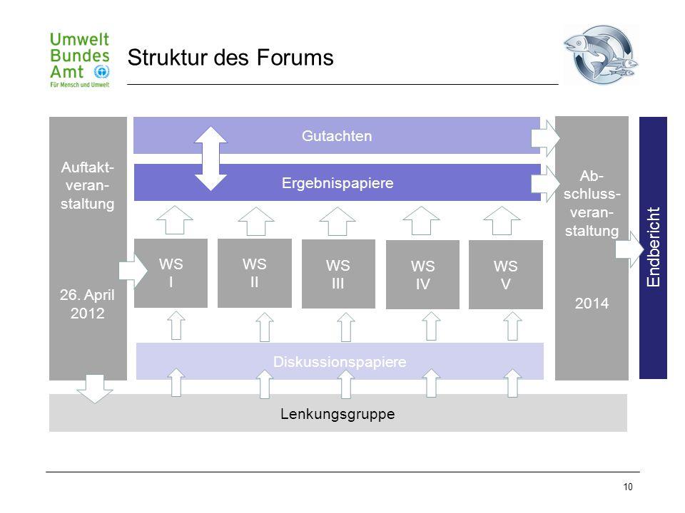 10 Struktur des Forums Auftakt- veran- staltung 26. April 2012 WS I WS II WS III WS IV WS V Ergebnispapiere Ab- schluss- veran- staltung 2014 Diskussi