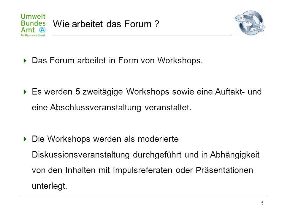 5  Das Forum arbeitet in Form von Workshops.  Es werden 5 zweitägige Workshops sowie eine Auftakt- und eine Abschlussveranstaltung veranstaltet.  D