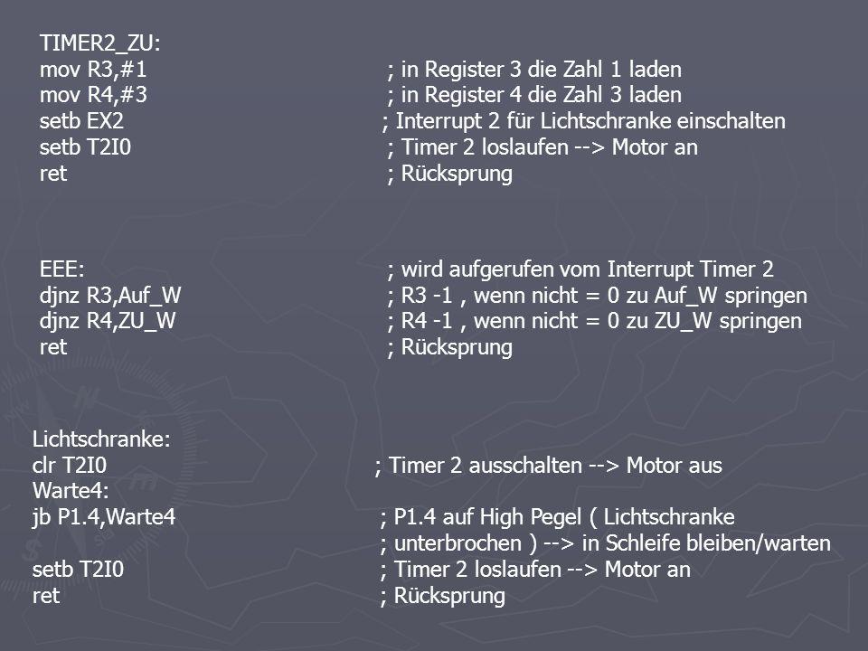 TIMER2_ZU: mov R3,#1; in Register 3 die Zahl 1 laden mov R4,#3; in Register 4 die Zahl 3 laden setb EX2 ; Interrupt 2 für Lichtschranke einschalten se