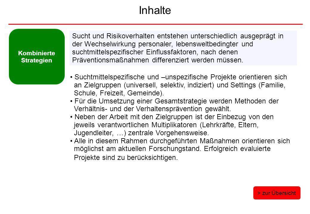 Inhalte Kombinierte Strategien > zur Übersicht Suchtmittelspezifische und –unspezifische Projekte orientieren sich an Zielgruppen (universell, selekti