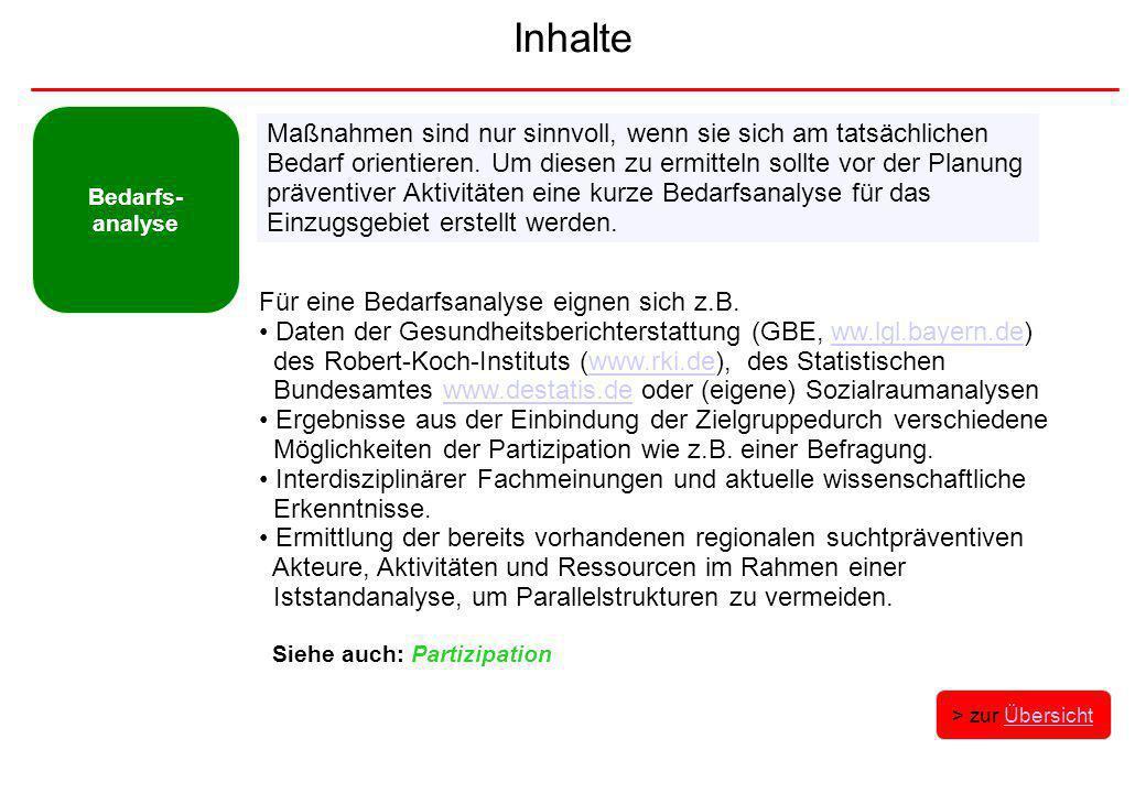 Inhalte Bedarfs- analyse Für eine Bedarfsanalyse eignen sich z.B. Daten der Gesundheitsberichterstattung (GBE, ww.lgl.bayern.de)ww.lgl.bayern.de des R