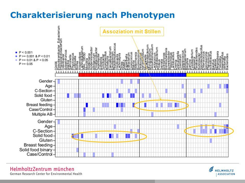 Assoziation mit Stillen Charakterisierung nach Phenotypen