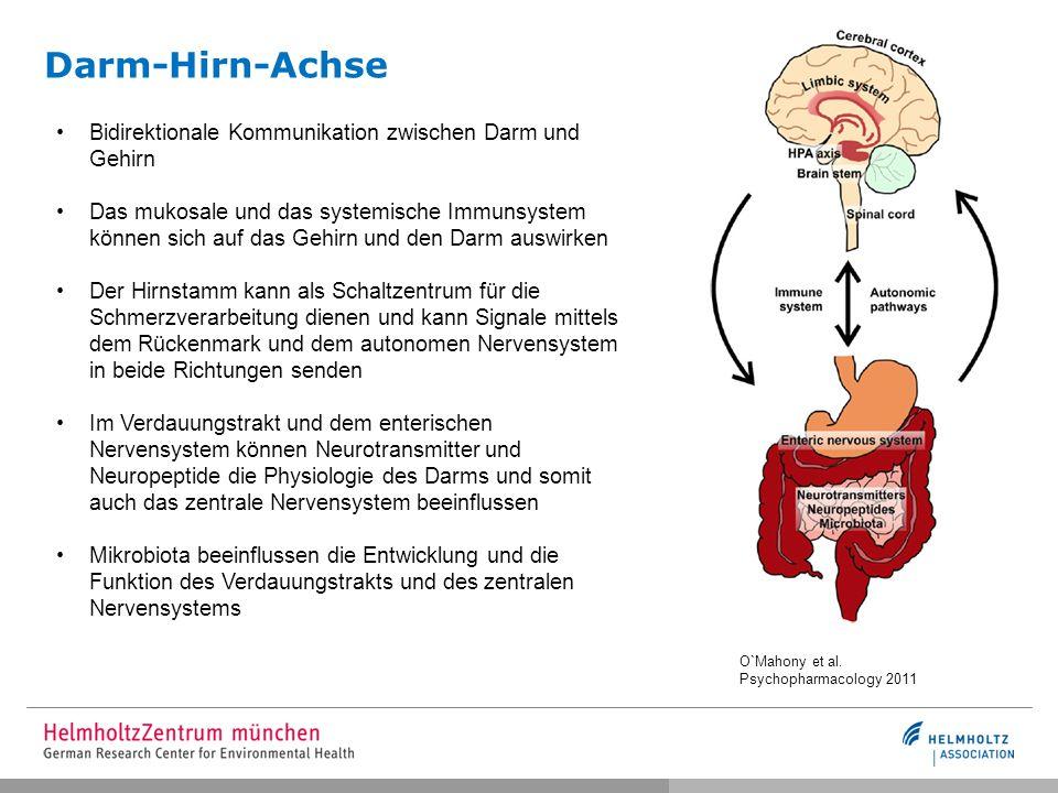 Darm-Hirn-Achse O`Mahony et al. Psychopharmacology 2011 Bidirektionale Kommunikation zwischen Darm und Gehirn Das mukosale und das systemische Immunsy