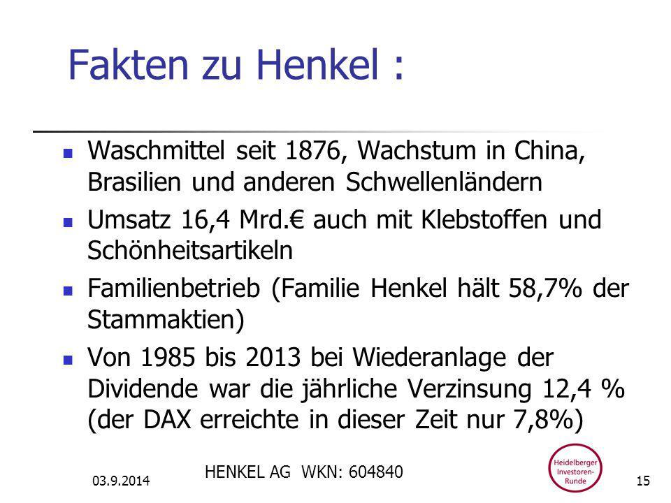 Fakten zu Henkel : Waschmittel seit 1876, Wachstum in China, Brasilien und anderen Schwellenländern Umsatz 16,4 Mrd.€ auch mit Klebstoffen und Schönheitsartikeln Familienbetrieb (Familie Henkel hält 58,7% der Stammaktien) Von 1985 bis 2013 bei Wiederanlage der Dividende war die jährliche Verzinsung 12,4 % (der DAX erreichte in dieser Zeit nur 7,8%) 03.9.2014 HENKEL AG WKN: 604840 15