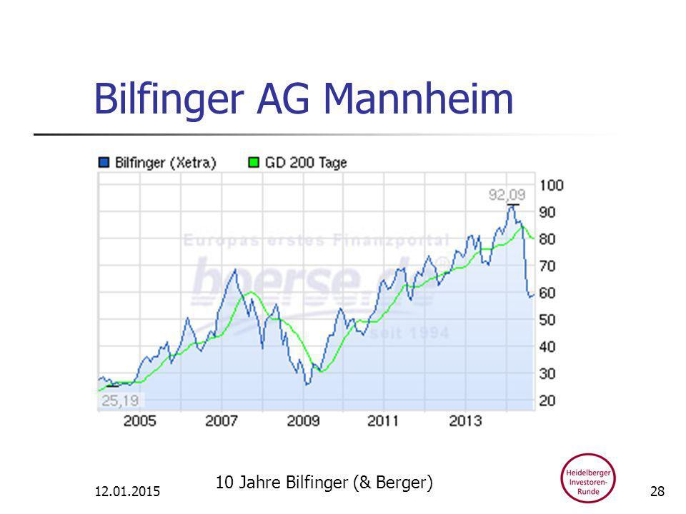 Bilfinger AG Mannheim 12.01.2015 10 Jahre Bilfinger (& Berger) 28