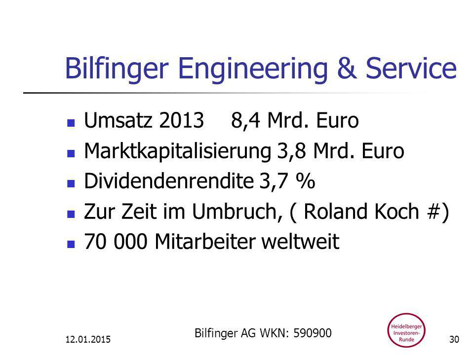 Bilfinger Engineering & Service Umsatz 2013 8,4 Mrd.