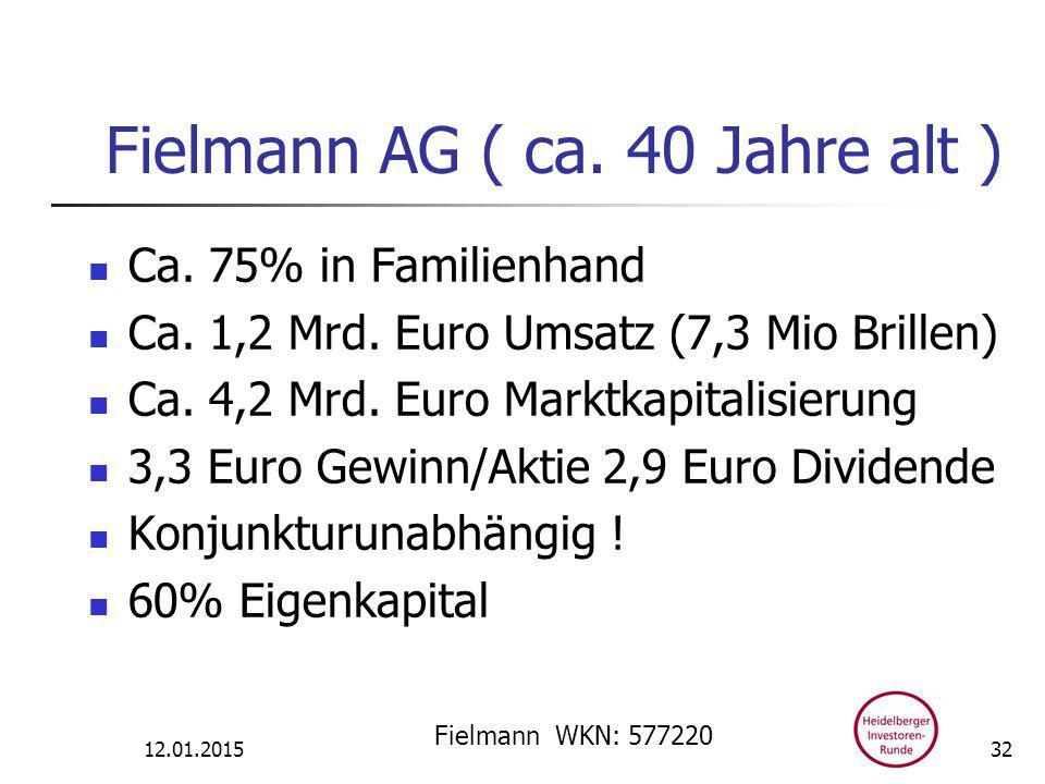 Fielmann AG ( ca. 40 Jahre alt ) Ca. 75% in Familienhand Ca.