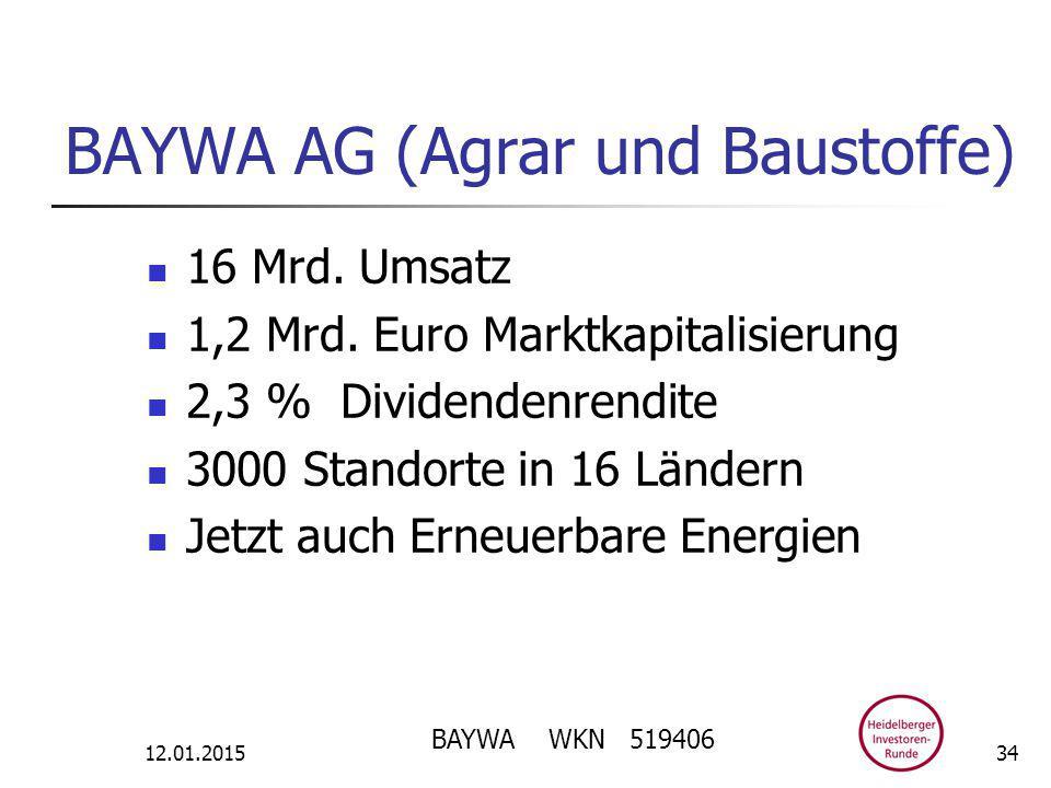 BAYWA AG (Agrar und Baustoffe) 16 Mrd. Umsatz 1,2 Mrd.