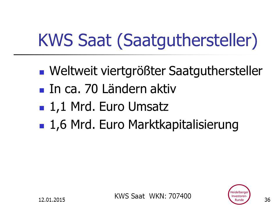 KWS Saat (Saatguthersteller) Weltweit viertgrößter Saatguthersteller In ca.