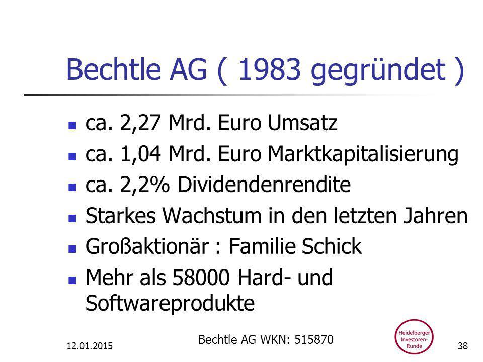 Bechtle AG ( 1983 gegründet ) ca. 2,27 Mrd. Euro Umsatz ca.