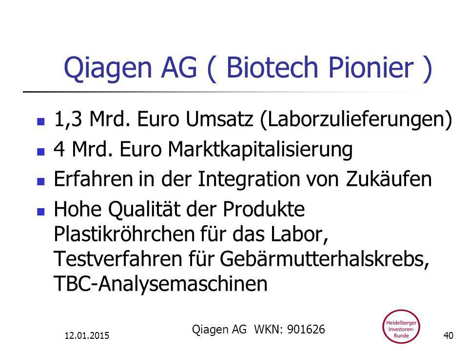 Qiagen AG ( Biotech Pionier ) 1,3 Mrd. Euro Umsatz (Laborzulieferungen) 4 Mrd.