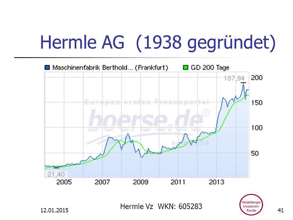 Hermle AG (1938 gegründet) 12.01.2015 Hermle Vz WKN: 605283 41