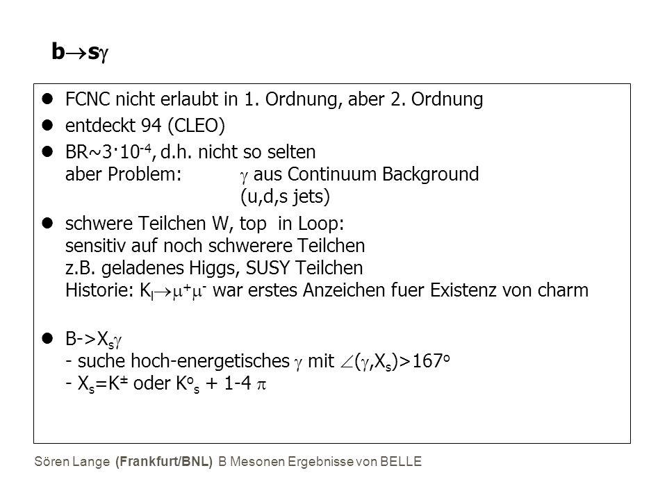 Sören Lange (Frankfurt/BNL) B Mesonen Ergebnisse von BELLE bsbs FCNC nicht erlaubt in 1. Ordnung, aber 2. Ordnung entdeckt 94 (CLEO) BR~3·10 -4, d