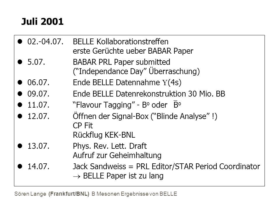 Sören Lange (Frankfurt/BNL) B Mesonen Ergebnisse von BELLE Juli 2001 02.-04.07. BELLE Kollaborationstreffen erste Gerüchte ueber BABAR Paper 5.07. BAB