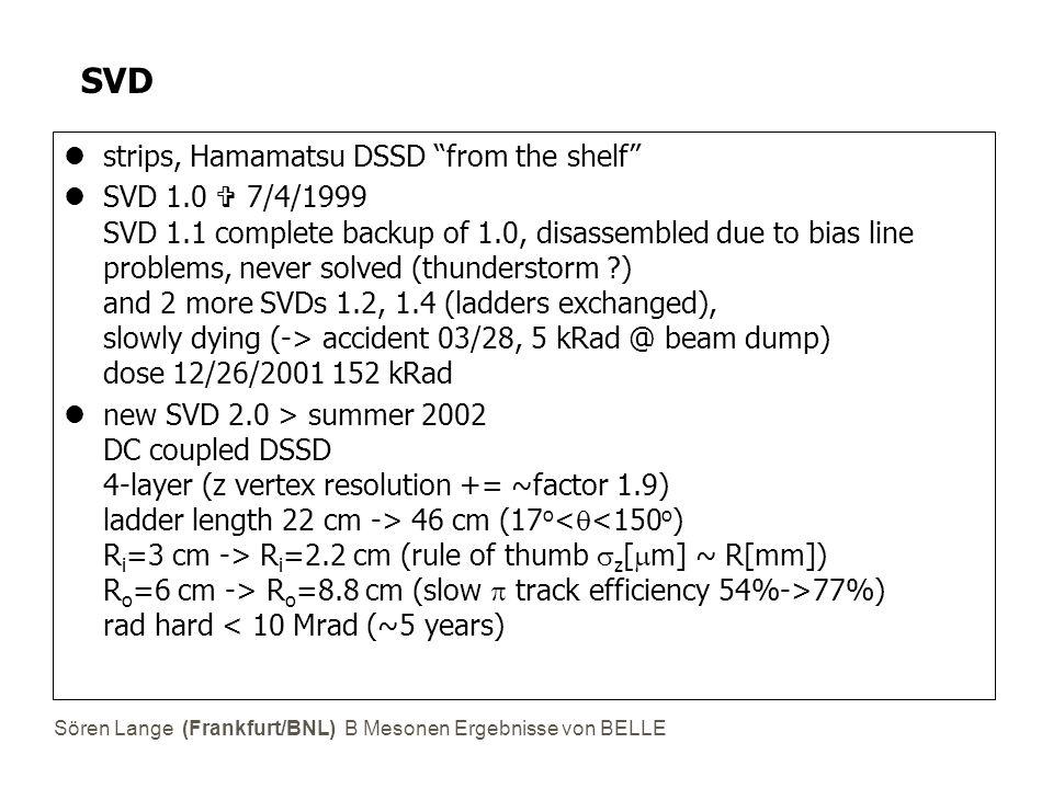 Sören Lange (Frankfurt/BNL) B Mesonen Ergebnisse von BELLE Radiation 1154 bunches (RHIC=60) now: ~2 mrad/s @ full current ~10 mrad/s at injection (asymmetric) 1 krad/s seen (!) in background bursts Radiation Monitor (KEK, Melbourne, Tsukuba U) 8 x PIN diodemrad/s= f(t) 8 x RADFETkradintegrate dose (beampipe) ~ 1.5 x dose(SVD) SVD abort: hardware abort>100 rad/st>1 ms (abort 10 ms later) software abort>100 mrad/st>2 s > 1-2 aborts per day .