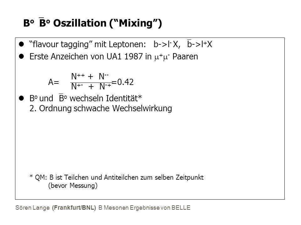 Sören Lange (Frankfurt/BNL) B Mesonen Ergebnisse von BELLE B o  B o Oszillation ( Mixing ) flavour tagging mit Leptonen: b->l - X,  b->l + X Erste Anzeichen von UA1 1987 in  +  - Paaren N ++ + N -- N +- + N -+ B o und  B o wechseln Identität* 2.
