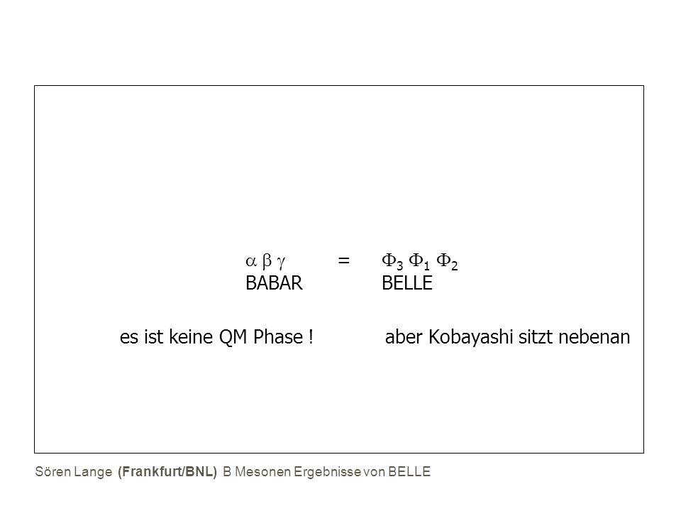 Sören Lange (Frankfurt/BNL) B Mesonen Ergebnisse von BELLE   =  3  1  2 BABAR BELLE  es ist keine QM Phase ! aber Kobayashi sitzt nebenan