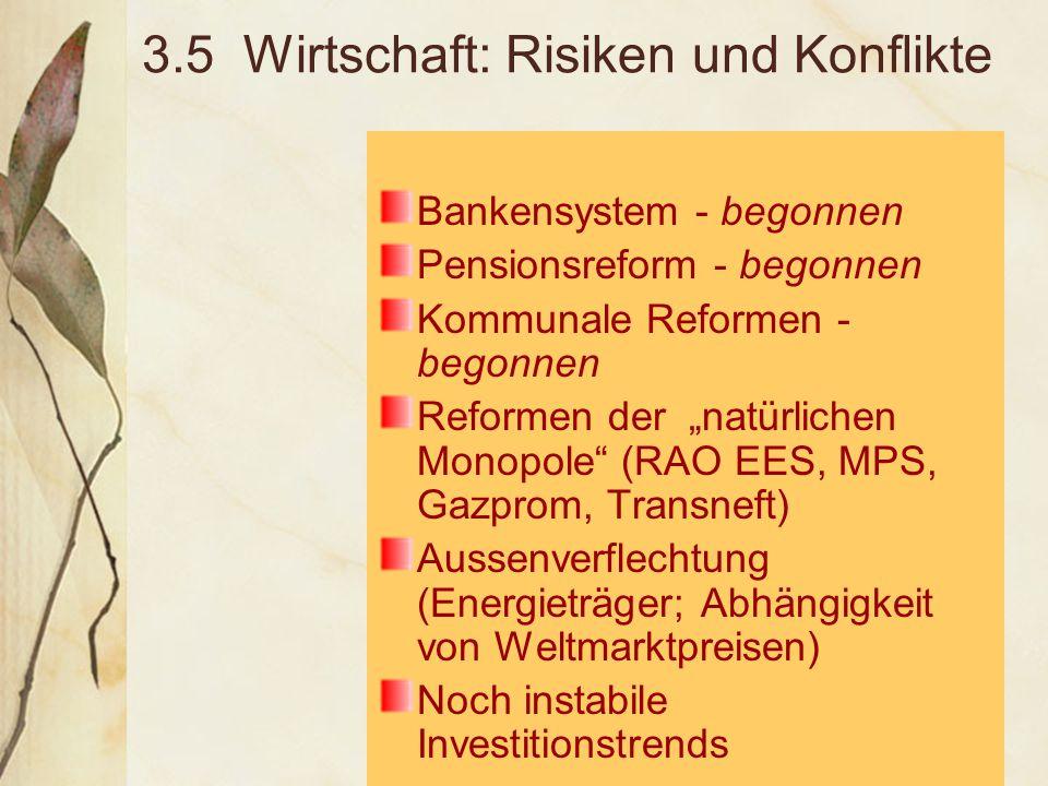 """3.5 Wirtschaft: Risiken und Konflikte Bankensystem - begonnen Pensionsreform - begonnen Kommunale Reformen - begonnen Reformen der """"natürlichen Monopole (RAO EES, MPS, Gazprom, Transneft) Aussenverflechtung (Energieträger; Abhängigkeit von Weltmarktpreisen) Noch instabile Investitionstrends"""