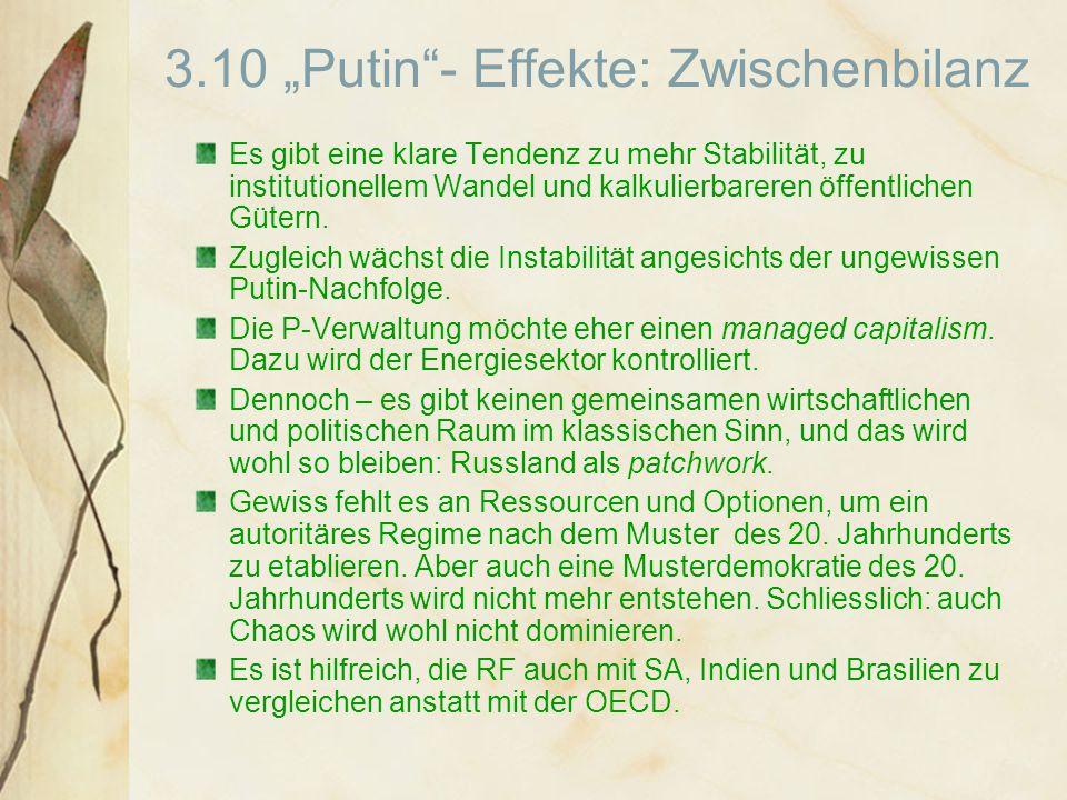 """3.10 """"Putin - Effekte: Zwischenbilanz Es gibt eine klare Tendenz zu mehr Stabilität, zu institutionellem Wandel und kalkulierbareren öffentlichen Gütern."""