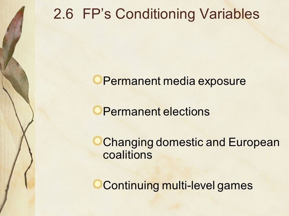 2.6FP's Conditioning Variables Permanent media exposure Permanent elections Changing domestic and European coalitions Continuing multi-level games