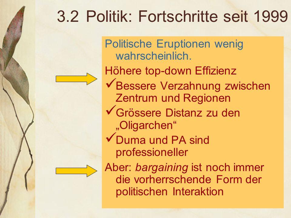 3.3 Politik: Risiken und Probleme Rechtsorgane entwickeln sich noch Probleme mit Parteien und robuster Zivilgesellschaft Volatile Entscheidungsprozesse, Fixierung auf erste Personen anstatt auf Regeln Verlangsamte Verwaltungsreform Entscheidungshemmende Wirkungen von Wahlen – auch hier