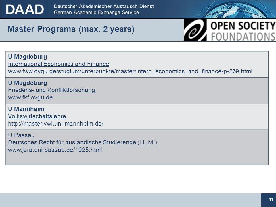 11 Master Programs (max.