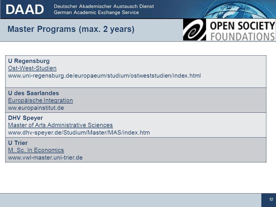 12 Master Programs (max.