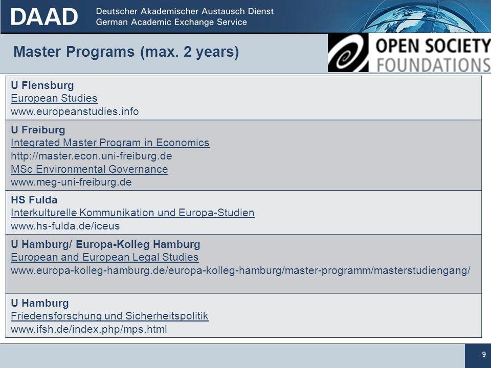 9 Master Programs (max.