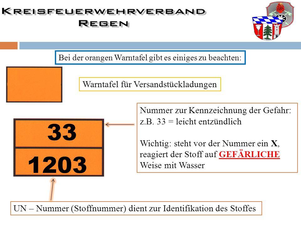 Bei der orangen Warntafel gibt es einiges zu beachten: Warntafel für Versandstückladungen 33 1203 UN – Nummer (Stoffnummer) dient zur Identifikation