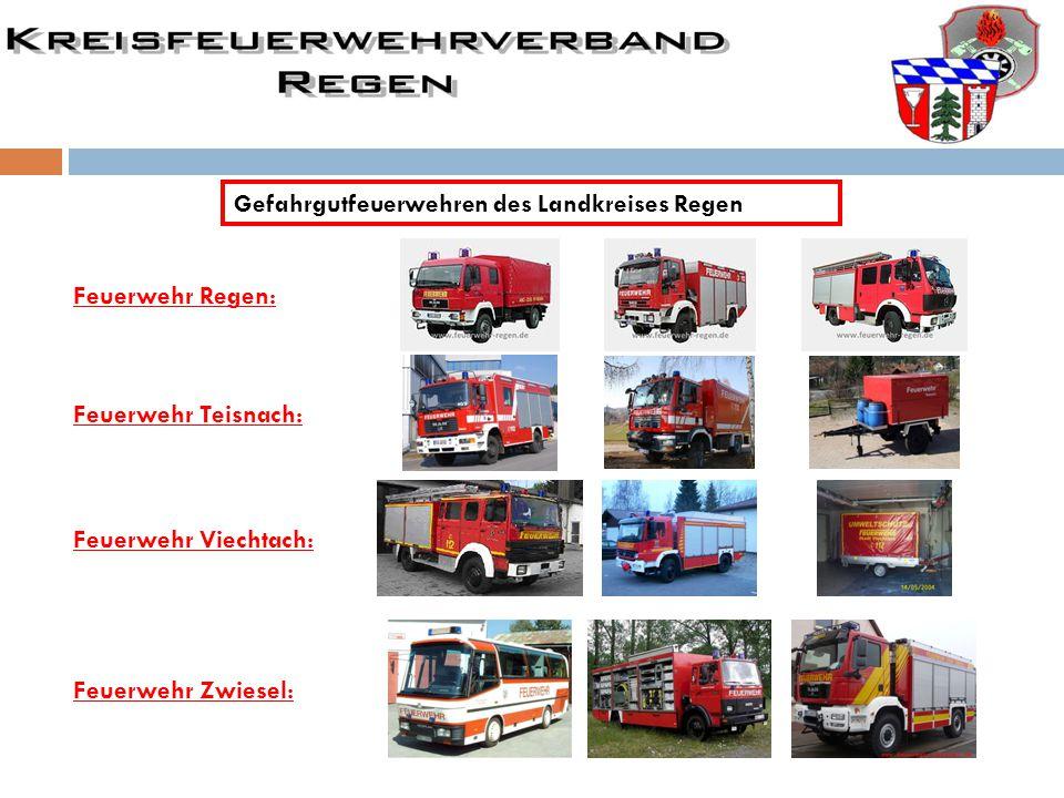 Gefahrgutfeuerwehren des Landkreises Regen Feuerwehr Regen: Feuerwehr Viechtach: Feuerwehr Teisnach: Feuerwehr Zwiesel: