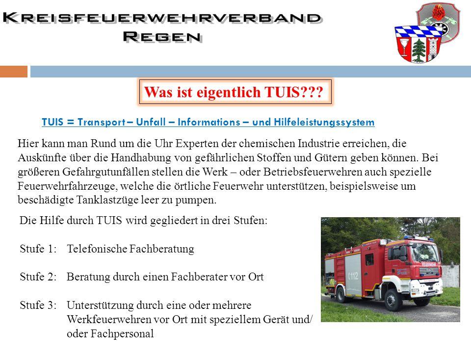 Was ist eigentlich TUIS??? TUIS = Transport – Unfall – Informations – und Hilfeleistungssystem Hier kann man Rund um die Uhr Experten der chemischen I