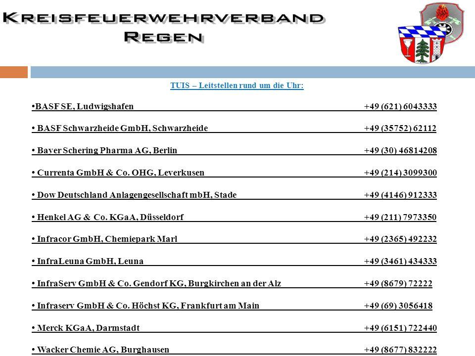 TUIS – Leitstellen rund um die Uhr: BASF SE, Ludwigshafen +49 (621) 6043333 BASF Schwarzheide GmbH, Schwarzheide +49 (35752) 62112 Bayer Schering Phar