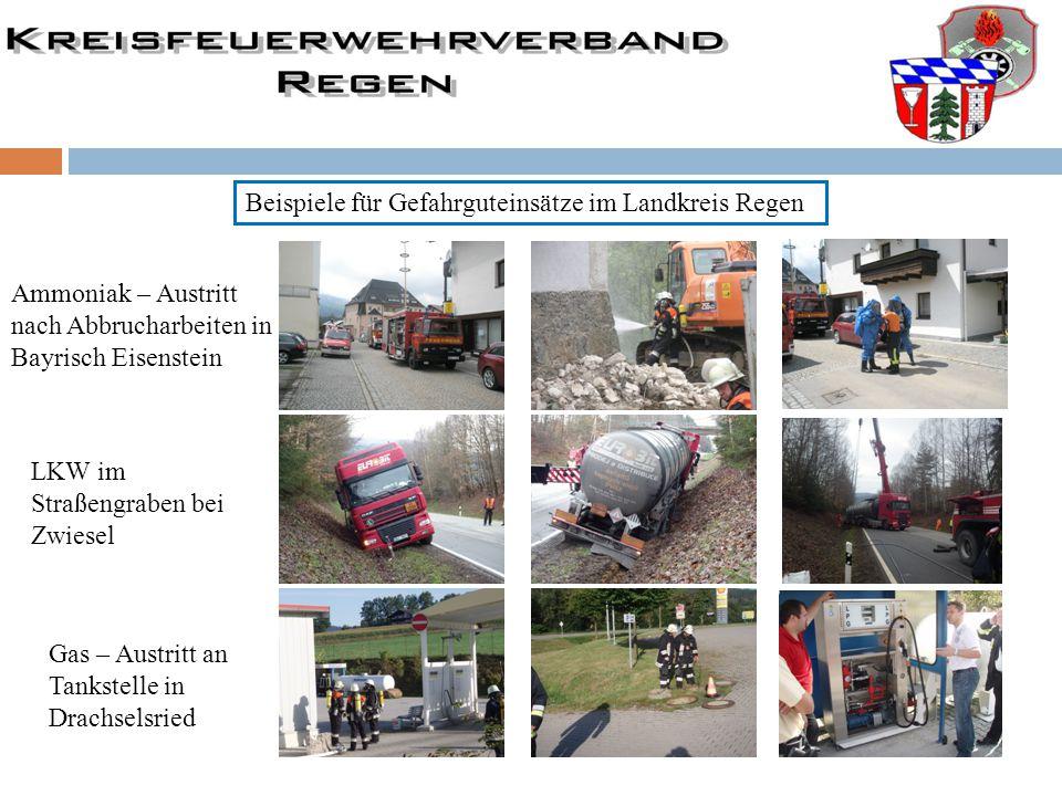 Beispiele für Gefahrguteinsätze im Landkreis Regen Ammoniak – Austritt nach Abbrucharbeiten in Bayrisch Eisenstein LKW im Straßengraben bei Zwiesel Ga