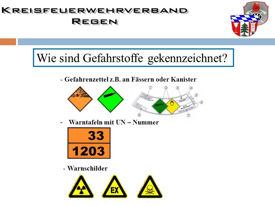 - Gefahrenzettel z.B. an Fässern oder Kanister -Warntafeln mit UN – Nummer 33 1203 - Warnschilder Wie sind Gefahrstoffe gekennzeichnet?