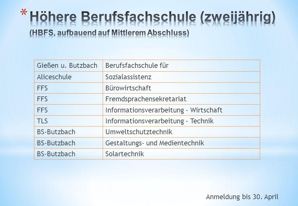 Anmeldung bis 30. April Gießen u. ButzbachBerufsfachschule für AliceschuleSozialassistenz FFSBürowirtschaft FFSFremdsprachensekretariat FFSInformation