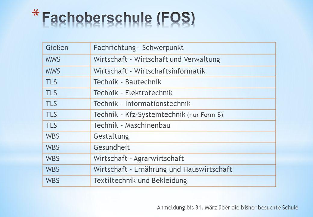 Anmeldung bis 31. März über die bisher besuchte Schule GießenFachrichtung - Schwerpunkt MWSWirtschaft – Wirtschaft und Verwaltung MWSWirtschaft – Wirt